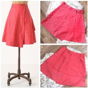 NWOT Anthro Postmark Vast Wrap midi skirt pink red